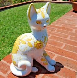 TALL Ceramic Cat Statue Rustic Door Gate Hearth Guardian Clay Mid-Century Yellow