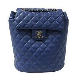 CHANEL A91121 Backpack Rucksack Chain Shoulder Bag Blue Lambskin Woman Auth Used