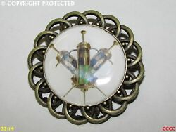 Steampunk Brooch Badge Pin Bronze Mechanical Syringes Hypodermic Needles Tattoo