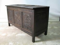 18th Century English Dark Oak Coffer/trunk/mule Chest Heavily Carved Panels