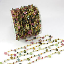 50 Feet Multi Tourmaline Gemstone Rosary Beaded Chain 925 Sterling Silve BR142