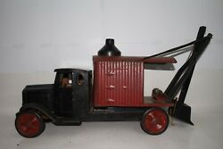 1920and039s Steelcraft Large Pressed Steel White Truck With Steam Shovel