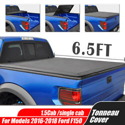 TONNEAU COVER TRI-FOLD SOFT For 16-18 FORD F-150 SUPERCREW CAB 6.5' BED