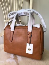 NWT FOSSIL SYDNEY Camel Tan Leather Satchel Shoulder Bag Handbag Crossbody Purse