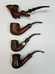 Set Of 4 Smoking Pipes, 3 Lighters, Cigars Holder And Tobacco Pipes Holder Bag