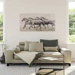 Horses Wind Wall Art Hand Painted Decor Farmhouse Home Hotel Rustic Western New