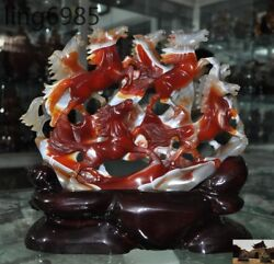 China Fengshui 100natural Agate Onyx Master Hand Carved 8 Horse Lucky Statue