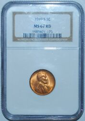 1949 S Ngc Ms67rd Red Lincoln Wheat Cent Penny