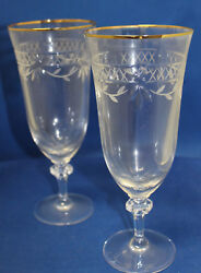 Royal Doulton Wellesley Gold Set Of 2 Iced Tea Glasses Cut Glass Crystal
