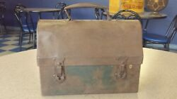Vintage Metal Domed Lunch Box W/ Star Ends Metal Handle Farm House Kitchen Deco