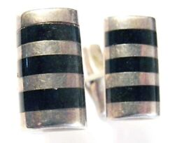 Vintage Ledesma Silver And Stone Stripes Cufflinks Taxco Sterling 1950s Handsome