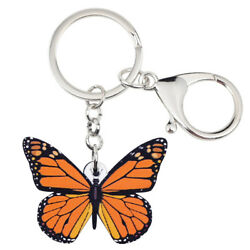 Acrylic Monarch Butterfly Keychain Key Ring Charms Jewelry For Women Wallet Gift $7.99