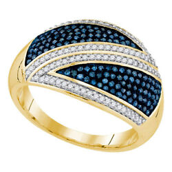 10K Yellow Gold 0.50ctw Shiny Diamond Fashion Blue Fahsion Micro Pave Dome Ring