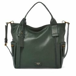 FOSSIL EMERSON Satchel Hunter Green Leather Crossbody Tote Purse Shopper Bag