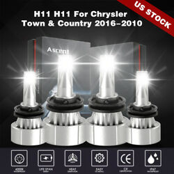 Front 4X H11 H11 LED Headlight Bulbs Kit For Chrysler Town & Country 2016-2010