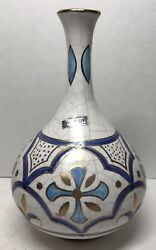 Bottle/flask Ceramic Craft Painted Blue And Gold H 18 D 4 5/16in