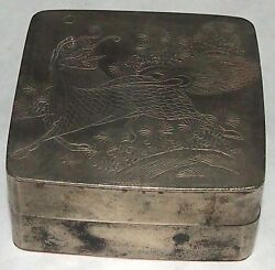 Antique Japanese Inkwell Signed Fu Dog Copper White Metal Engraved 19th Century