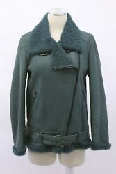 Nwt 9995 Brunello Cucinelli 100 Leather Shearling Fur Coat W/beading 42/m A191