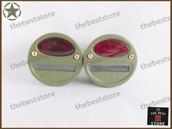 Pair Of Military Jeep Willys Cat Eye Rear Tail And Stop Light 2 Point Light 12v