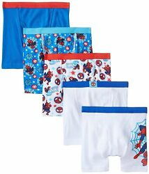 Marvel Spiderman Boys Boxer Briefs 5 Pack Sizes 4 6 8 100% Cotton