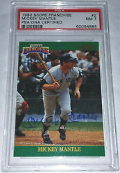 1992 Score Pinnacle Mickey Mantle jersey number #72000 signed auto PSA DNA