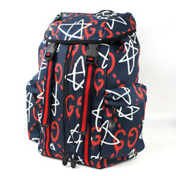GUCCI Ghost Bag Backpack Rucksack Techno Canvas 429037 K4U1X Navy Auth Mint Rare