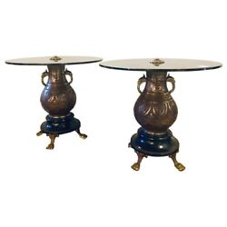 Pair Of 1920s Bronze Urn Form Glass Top End Or Pedestal Tables 422-234