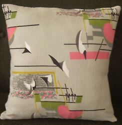 Atomic Barkcloth Pillow Cover Sputnik Mid Century Modern Space Age Space Whimsy