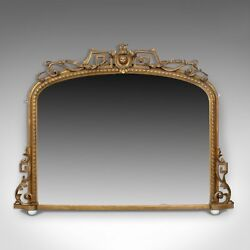 Antique Overmantel Mirror Mid-Sized English Regency Wall Giltwood Circa 1820