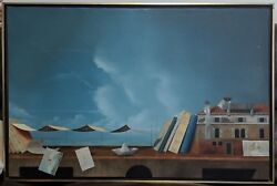 Herve Petit French 1953- Original Oil Painting 1989 Signed Art