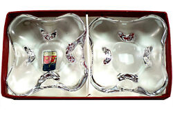 Small Rare Collectible Baccarat Crystal Cigarette Cigar Pipe Ashtrays And Box