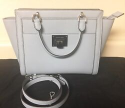 NWT MK Leather Bag Purse Satchel Crossbody Michael Kors Tina Large Pale Blue $120.00