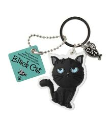 590014 WAGS amp; WHISKERS BLACK CAT HUNGRY CARICATURE RUBBER IMAGE METAL KEYRING