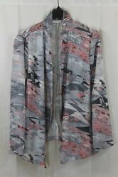 Women'S Lush Silver Coral Jacket Size L Open Front No Collar New W Tags $58