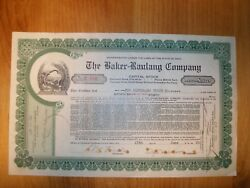 The Baker-raulang Company 1929 Stock Certificate Year Of Stock Market Crash