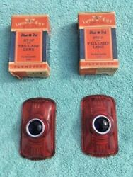 1940 Plymouth Deluxe Road King Nors Glass Blue Dot Stop Tail Light Lens Pair