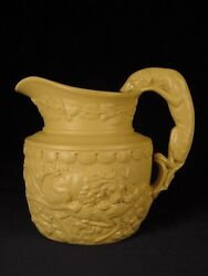 Rare Mid-1800s Small Ridgway Hound Handle Dog Pitcher Yellow Ware Mint
