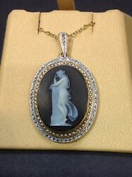 Antique Cameo In Onyx Stone. 18k Yg Frame And Chain. Diamonds. Pearls. Very Fine