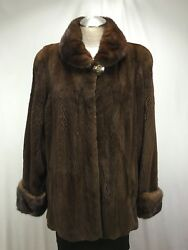 Masterpiece Rare U S Mahogany Plucked Mink Fur Let Out Lady Jacket Free Shipg
