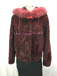 Indispensable Wine Red Spotted French Sheared Rex Fur Hoodie Fox Trim Free Shipg