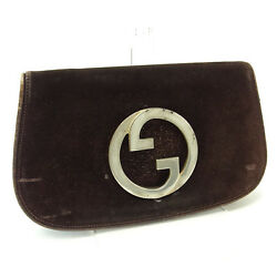 Gucci Clutch bag G logos Brown Silver Woman Authentic Used P041