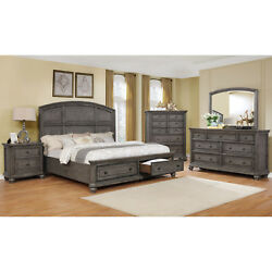 Traditional Wooden Bedroom 4pc Set Queen Size Bed With Two Drawer Beautiful