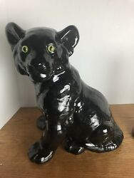 """14.25"""" Black Ceramic Panther With Yellow Glass Eyes Signed"""