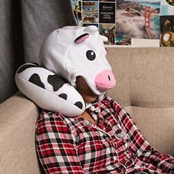 Cute Cow Neck Microbead Pillow Microbeads Comfort Soft Hooded Privacy Drawstring