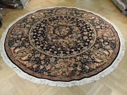 Authentic Handmade Rug 8x8 Round Black French High End Aubusson Rug
