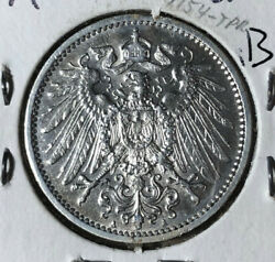 1905-a Germany 1 Mark Silver Coin Bu Condition