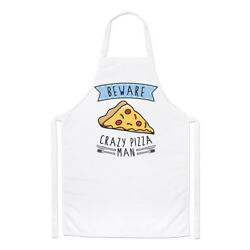 Beware Crazy Pizza Man Chefs Apron - Funny Food Pepperoni Cooking