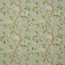 Colefax And Fowler Chinoiserie Japanese Floral Snow Tree Fabric 10 Yards Aqua