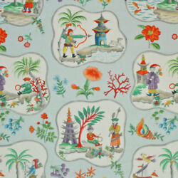 Clarence House Exclusive Chinoiserie Pagodas Toile Linen Fabric 10 Yards Blue