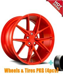 New4 20 Staggered Niche M186 Misano Gloss Red Wheels And Tires